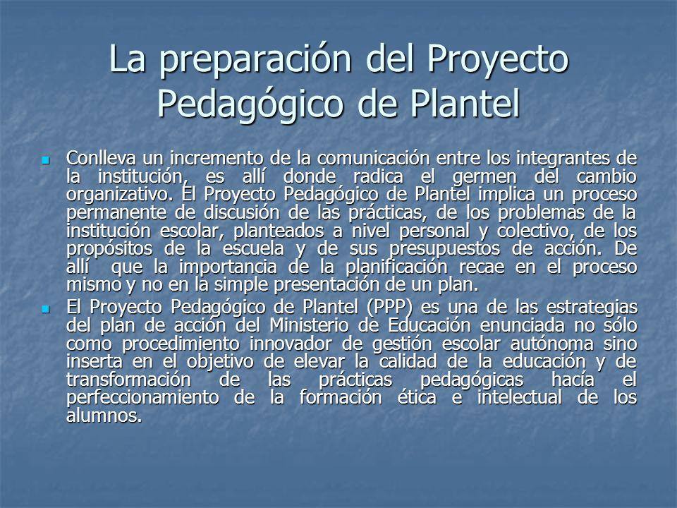 La preparación del Proyecto Pedagógico de Plantel Conlleva un incremento de la comunicación entre los integrantes de la institución, es allí donde rad