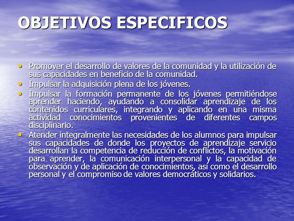 OBJETIVOS ESPECIFICOS Promover el desarrollo de valores de la comunidad y la utilización de sus capacidades en beneficio de la comunidad.