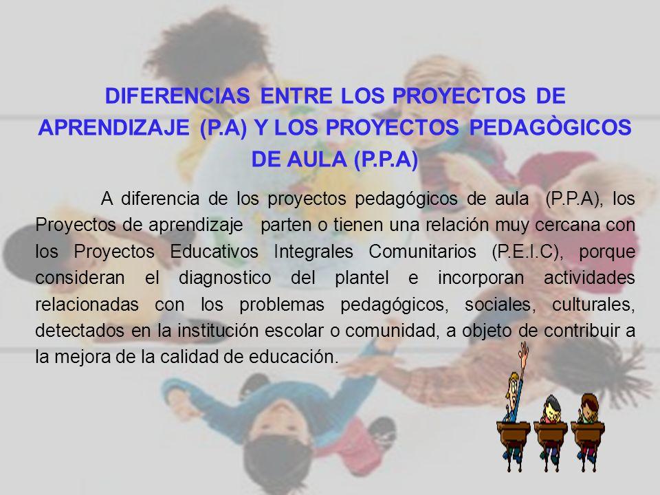 DIFERENCIAS ENTRE LOS PROYECTOS DE APRENDIZAJE (P.A) Y LOS PROYECTOS PEDAGÒGICOS DE AULA (P.P.A) A diferencia de los proyectos pedagógicos de aula (P.