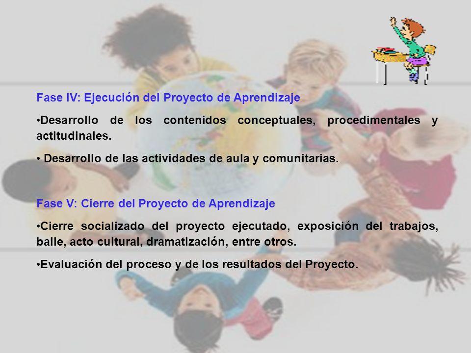 Fase IV: Ejecución del Proyecto de Aprendizaje Desarrollo de los contenidos conceptuales, procedimentales y actitudinales. Desarrollo de las actividad