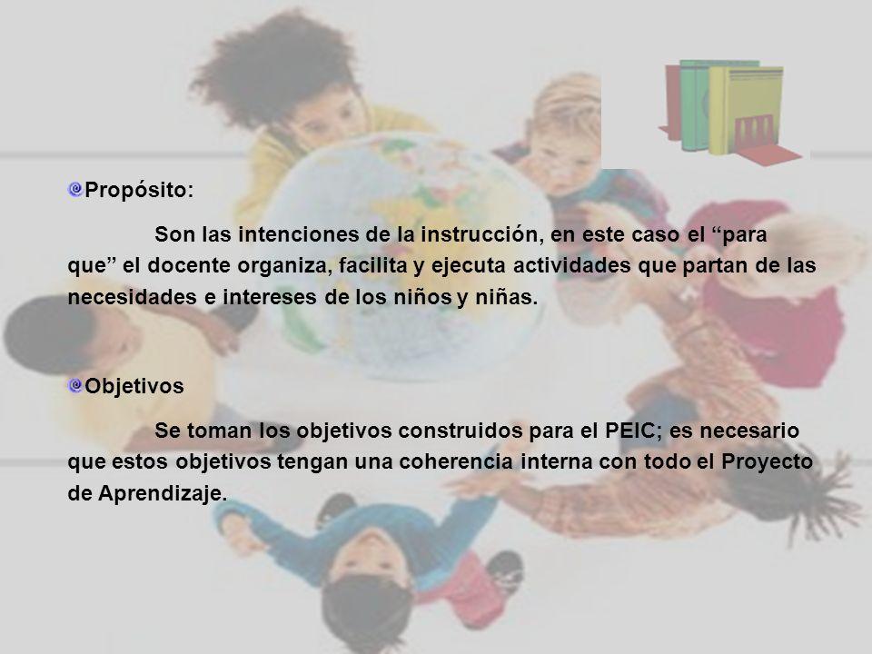 Propósito: Son las intenciones de la instrucción, en este caso el para que el docente organiza, facilita y ejecuta actividades que partan de las neces