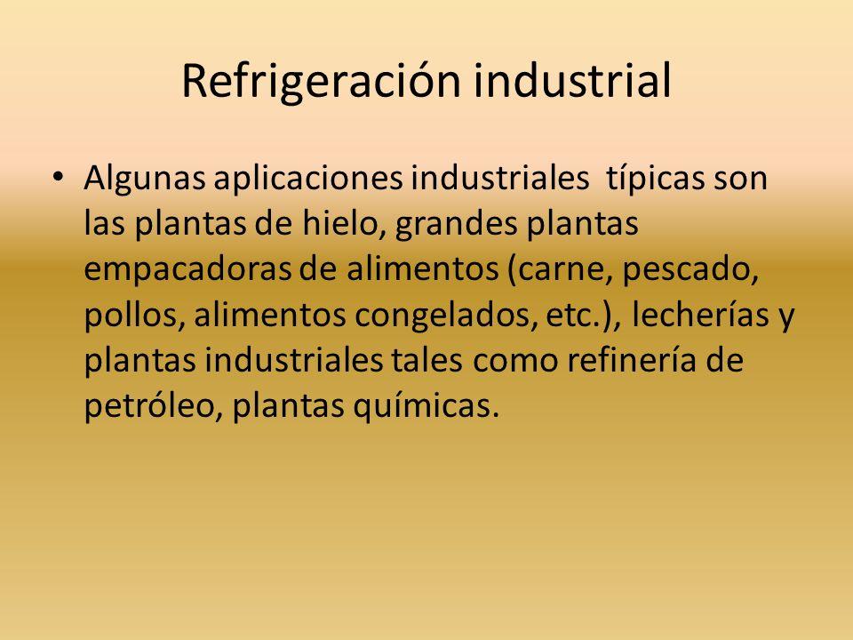Refrigeración industrial Algunas aplicaciones industriales típicas son las plantas de hielo, grandes plantas empacadoras de alimentos (carne, pescado,