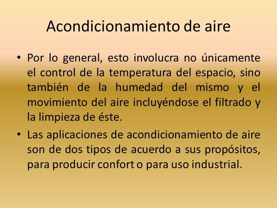 Acondicionamiento de aire Por lo general, esto involucra no únicamente el control de la temperatura del espacio, sino también de la humedad del mismo