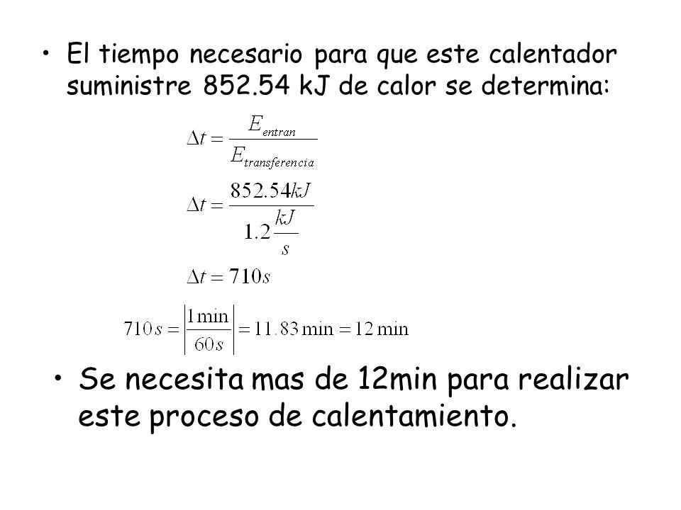 El tiempo necesario para que este calentador suministre 852.54 kJ de calor se determina: Se necesita mas de 12min para realizar este proceso de calentamiento.