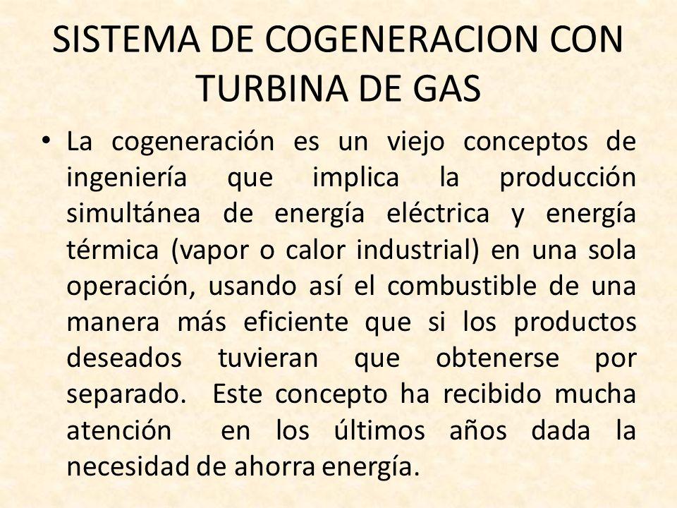 SISTEMA DE COGENERACION CON TURBINA DE GAS La cogeneración es un viejo conceptos de ingeniería que implica la producción simultánea de energía eléctri