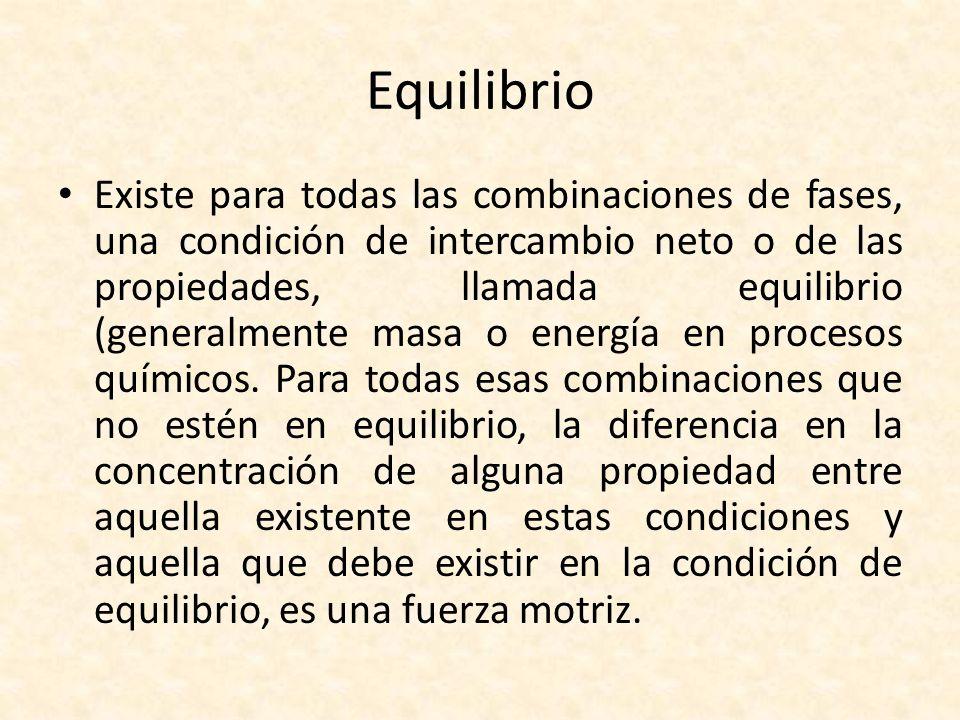 Equilibrio Existe para todas las combinaciones de fases, una condición de intercambio neto o de las propiedades, llamada equilibrio (generalmente masa