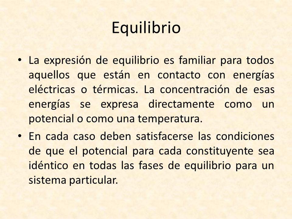 Equilibrio La expresión de equilibrio es familiar para todos aquellos que están en contacto con energías eléctricas o térmicas. La concentración de es