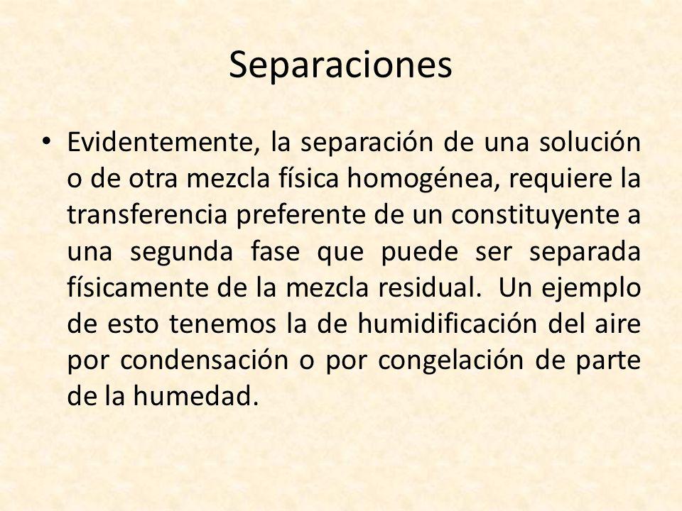 Separaciones Evidentemente, la separación de una solución o de otra mezcla física homogénea, requiere la transferencia preferente de un constituyente