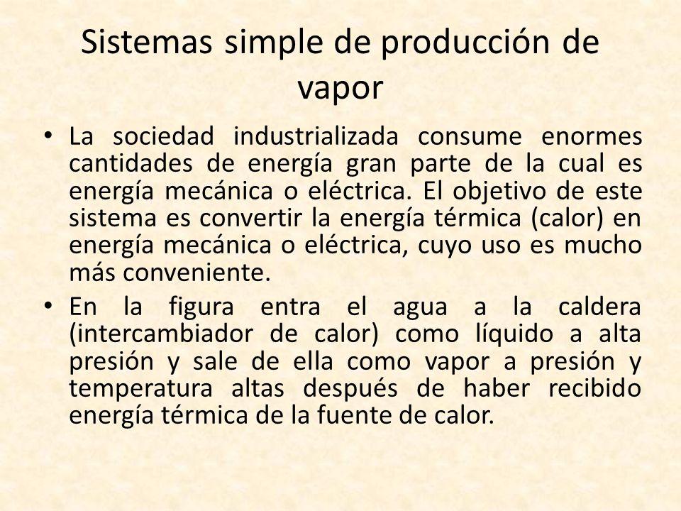 Sistemas simple de producción de vapor El vapor entonces se expande en la turbina (dispositivo de producción de trabajo) a un estado de presión y de temperatura bajas, produciendo durante el proceso trabajo útil.