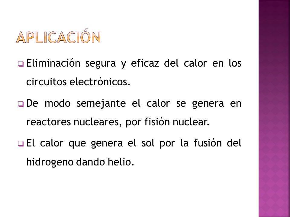 Eliminación segura y eficaz del calor en los circuitos electrónicos. De modo semejante el calor se genera en reactores nucleares, por fisión nuclear.