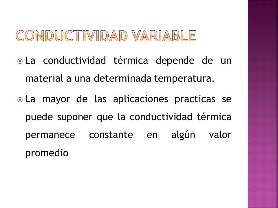 La conductividad térmica depende de un material a una determinada temperatura. La mayor de las aplicaciones practicas se puede suponer que la conducti