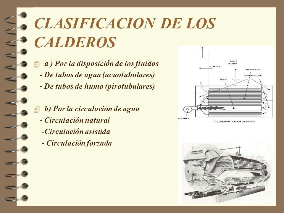 CLASIFICACION DE LOS CALDEROS 4 c) Por el mecanismo de transmisor de calor - De convección - De radiación - De radiación y convección 4 d) Por el combustible empleado - De carbón mineral -De combustible líquido - De combustible gaseoso -Nucleares