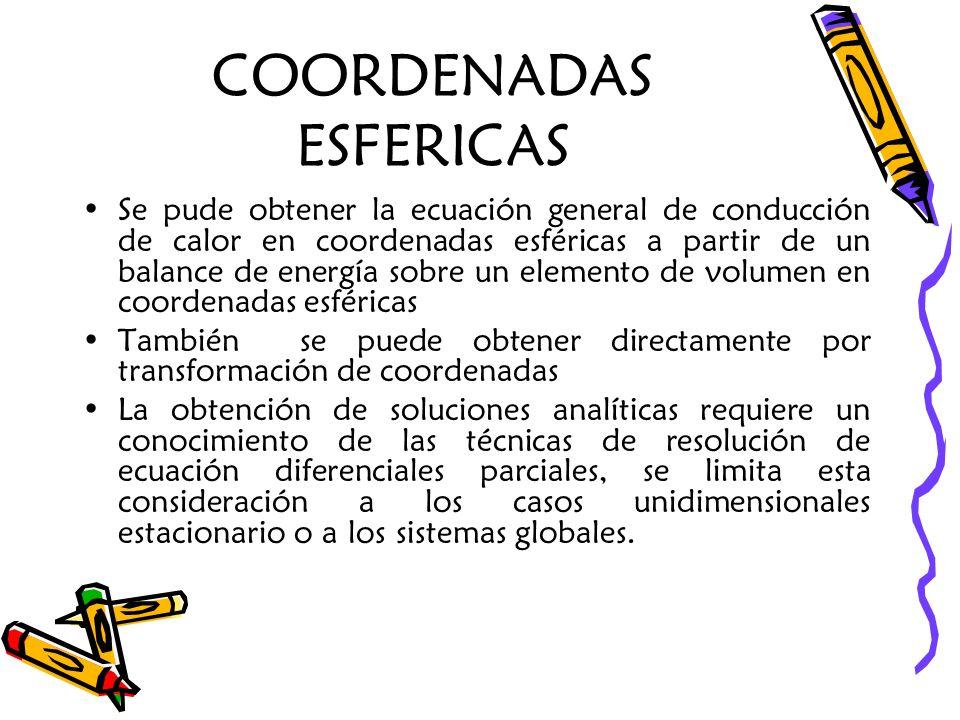 COORDENADAS ESFERICAS Se pude obtener la ecuación general de conducción de calor en coordenadas esféricas a partir de un balance de energía sobre un e