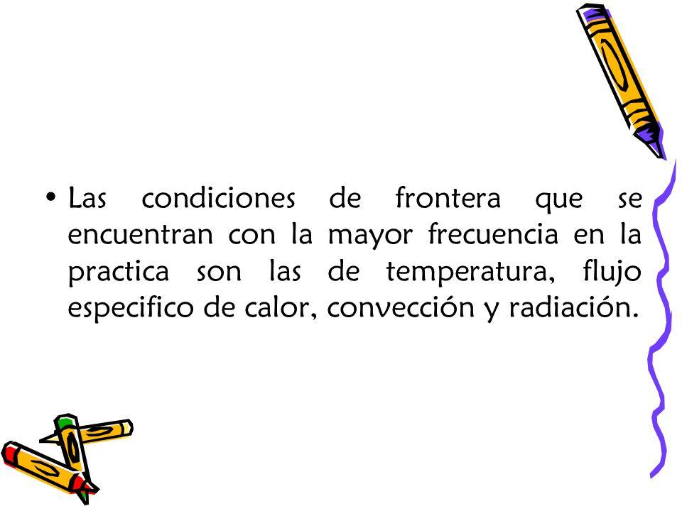 Las condiciones de frontera que se encuentran con la mayor frecuencia en la practica son las de temperatura, flujo especifico de calor, convección y r