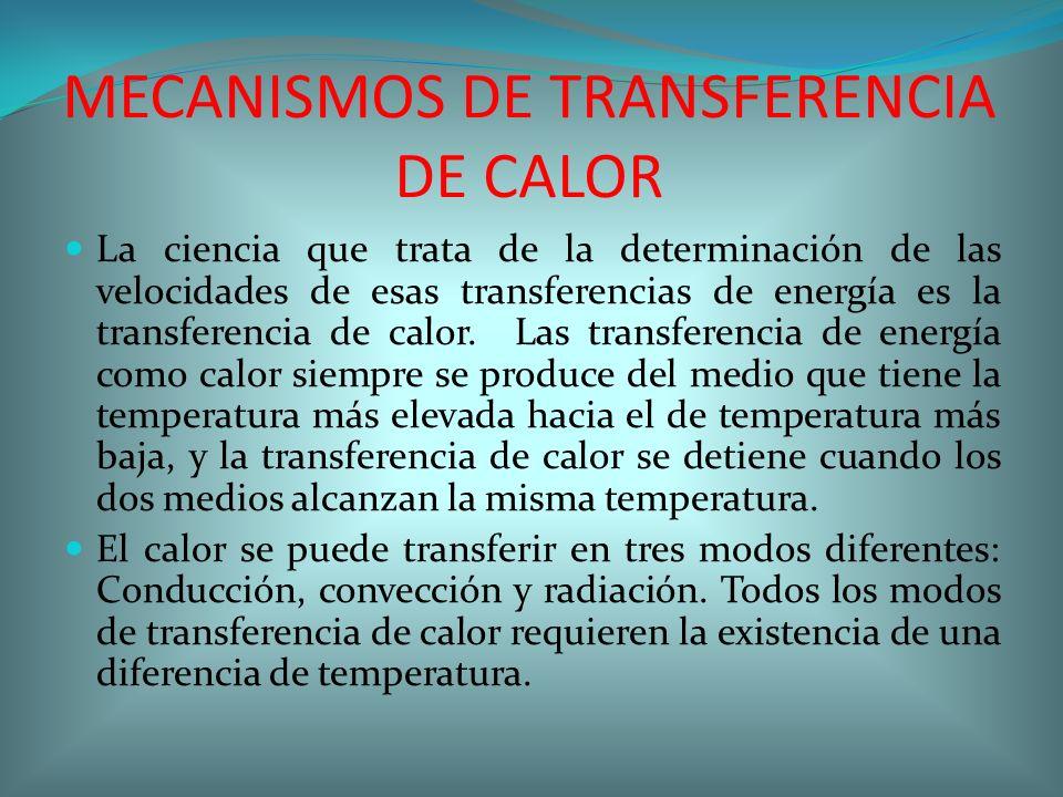 MECANISMOS DE TRANSFERENCIA DE CALOR La ciencia que trata de la determinación de las velocidades de esas transferencias de energía es la transferencia