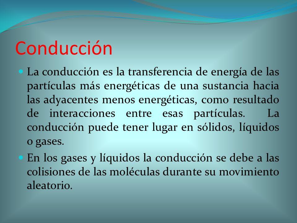 Conducción La conducción es la transferencia de energía de las partículas más energéticas de una sustancia hacia las adyacentes menos energéticas, com