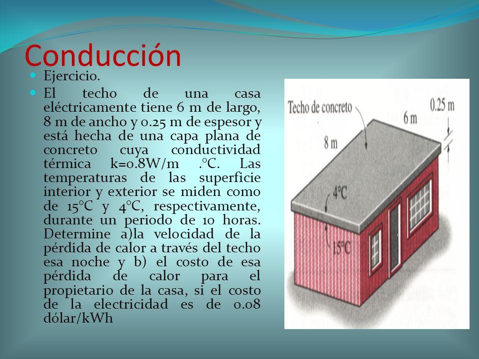 Conducción Ejercicio. El techo de una casa eléctricamente tiene 6 m de largo, 8 m de ancho y 0.25 m de espesor y está hecha de una capa plana de concr