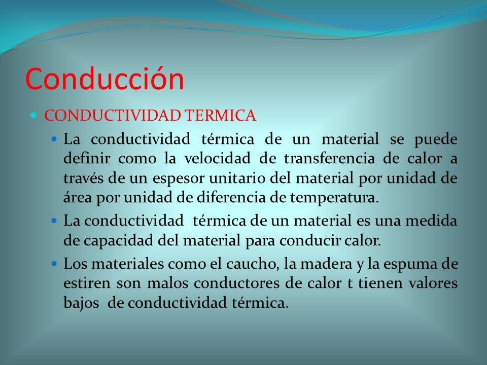 Conducción CONDUCTIVIDAD TERMICA La conductividad térmica de un material se puede definir como la velocidad de transferencia de calor a través de un e