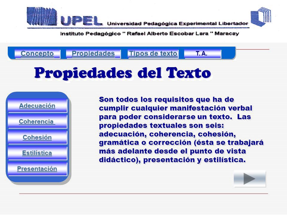 Propiedades del Texto Adecuación Estilística Presentación Cohesión Coherencia Son todos los requisitos que ha de cumplir cualquier manifestación verbal para poder considerarse un texto.
