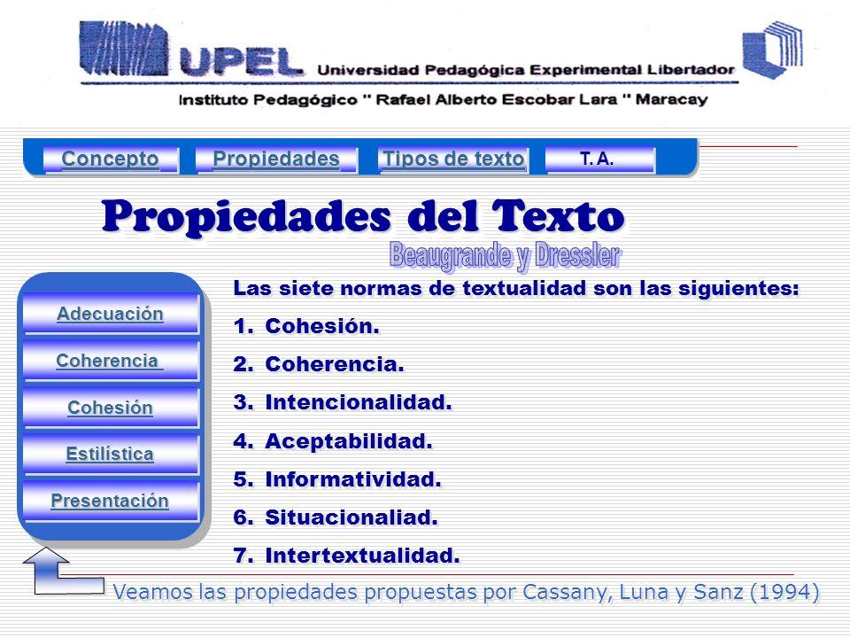 Propiedades del Texto Adecuación Estilística Presentación Cohesión Coherencia Las siete normas de textualidad son las siguientes: 1.Cohesión.