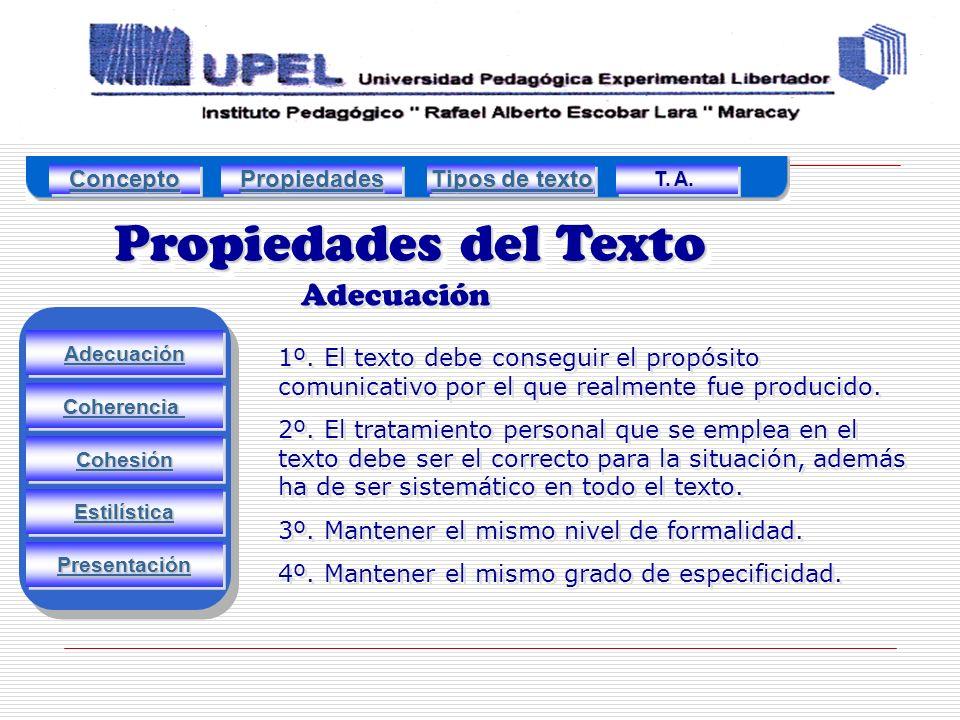 Propiedades del Texto Adecuación Estilística Cohesión Coherencia Presentación 1º.