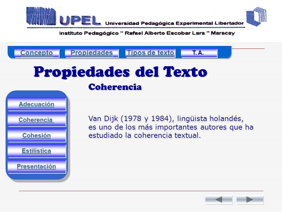 Propiedades del Texto Coherencia Adecuación Estilística Cohesión Coherencia Presentación Van Dijk (1978 y 1984), lingüista holandés, es uno de los más importantes autores que ha estudiado la coherencia textual.