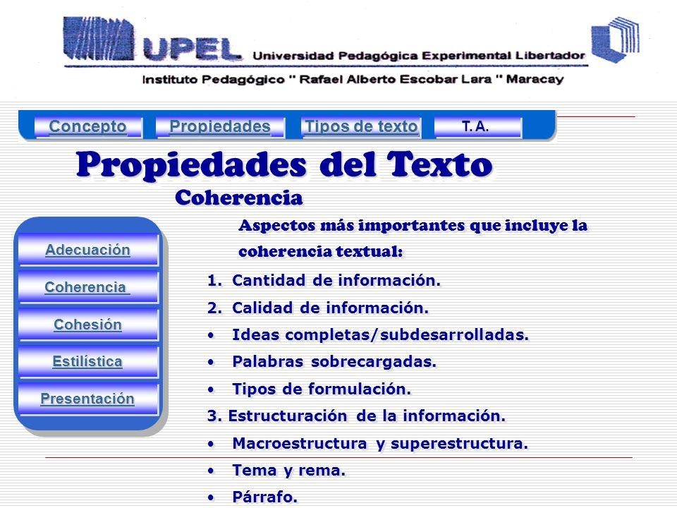 Propiedades del Texto Coherencia Adecuación Estilística Cohesión Coherencia Presentación 1.Cantidad de información.