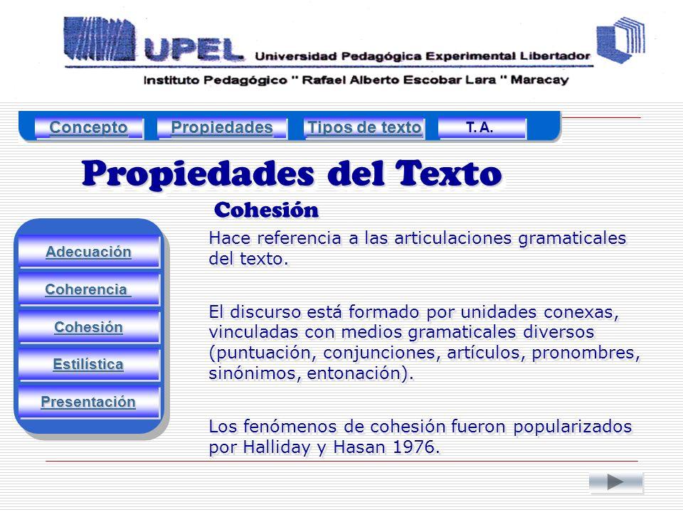 Propiedades del Texto Cohesión Adecuación Estilística Cohesión Coherencia Presentación Hace referencia a las articulaciones gramaticales del texto.