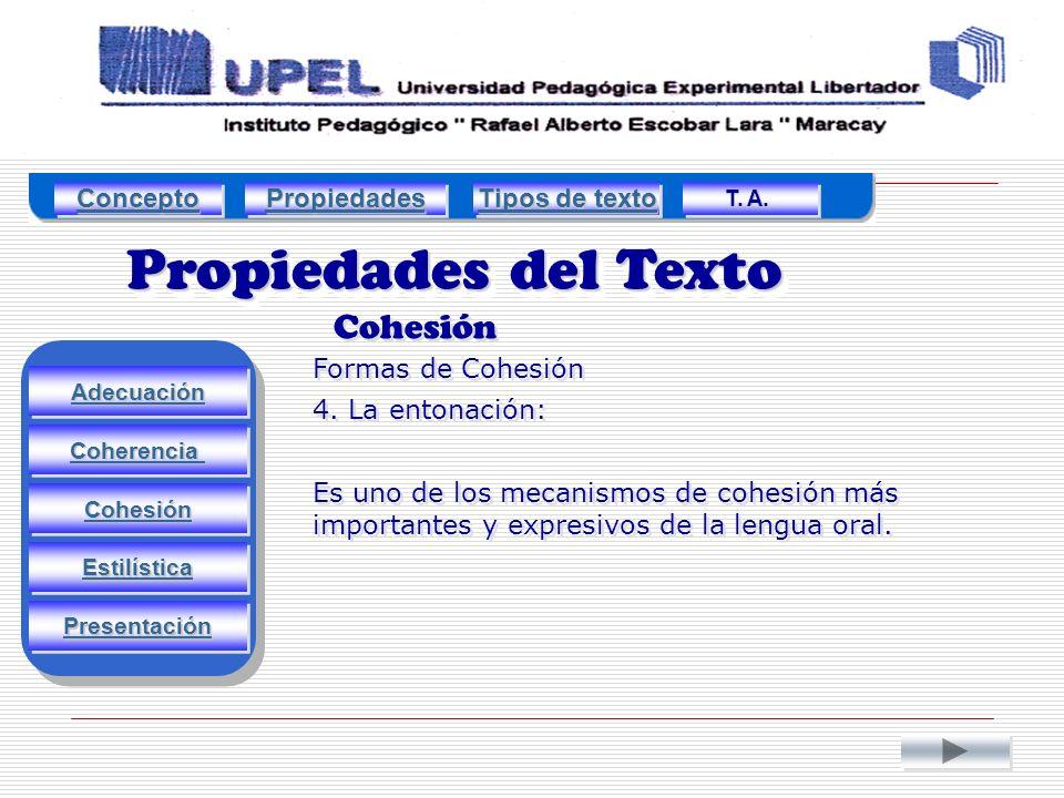 Propiedades del Texto Cohesión Adecuación Estilística Cohesión Coherencia Presentación Formas de Cohesión 4.