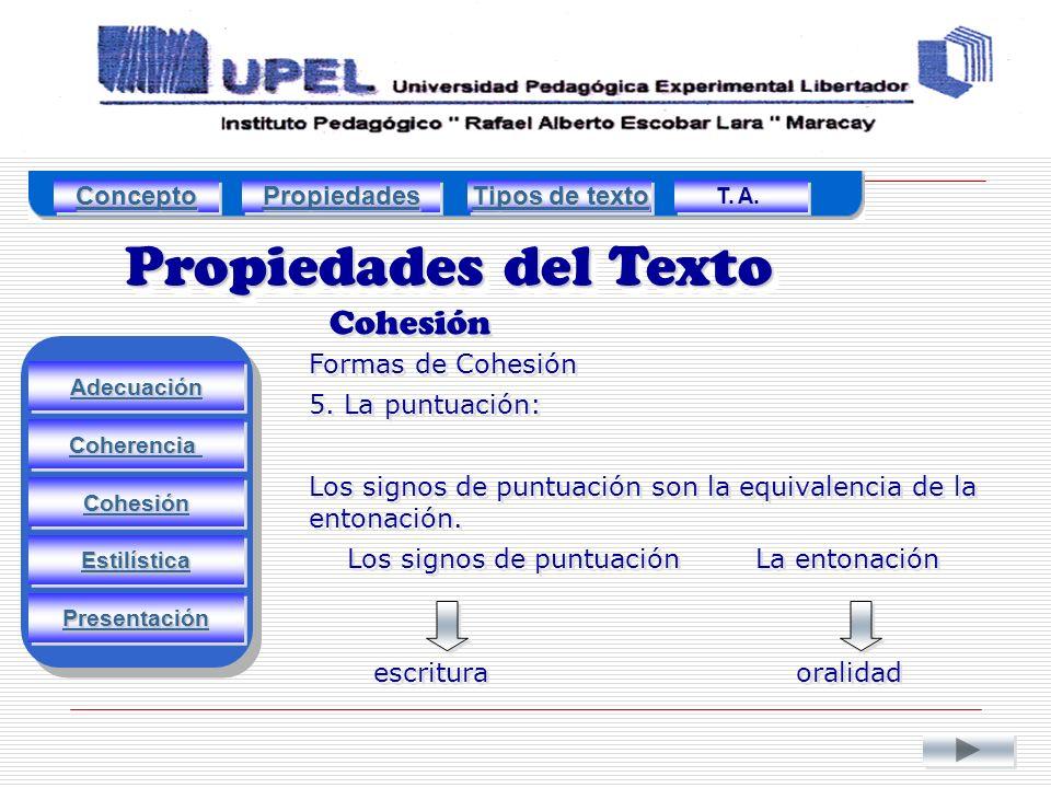 Propiedades del Texto Cohesión Adecuación Estilística Cohesión Coherencia Presentación Formas de Cohesión 5.