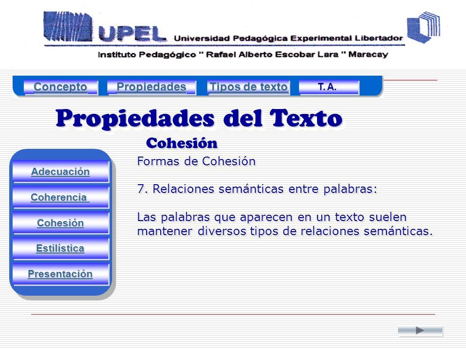 Propiedades del Texto Cohesión Adecuación Estilística Cohesión Coherencia Presentación Formas de Cohesión 7.