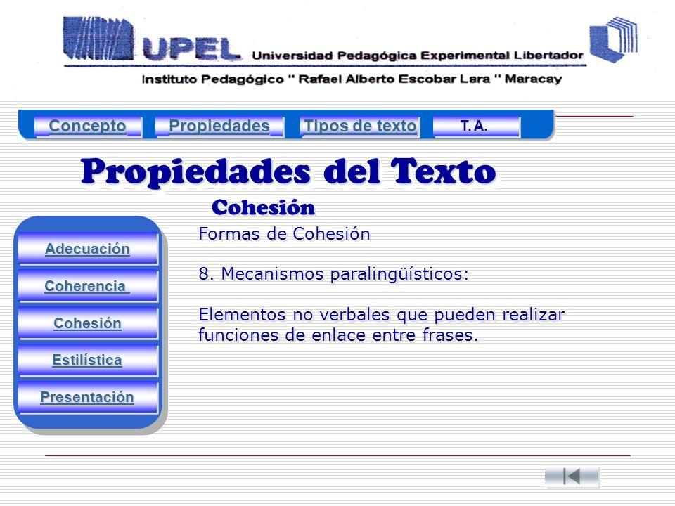 Propiedades del Texto Cohesión Adecuación Estilística Cohesión Coherencia Presentación Formas de Cohesión 8.