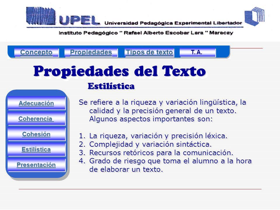 Propiedades del Texto Estilística Adecuación Estilística Cohesión Coherencia Presentación Se refiere a la riqueza y variación lingüística, la calidad y la precisión general de un texto.
