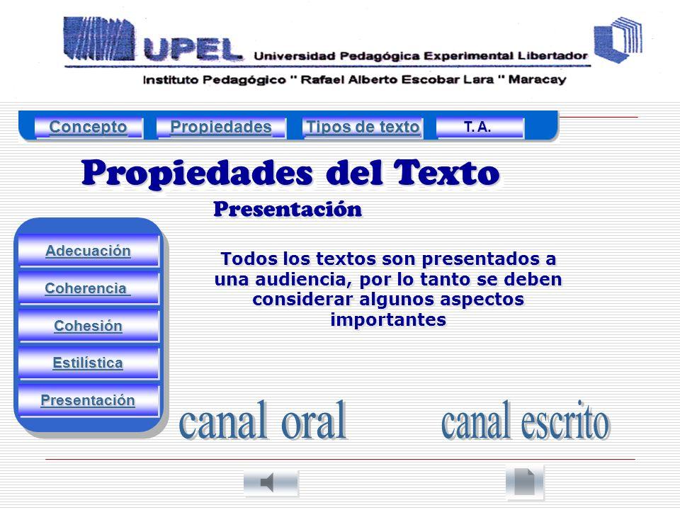 Propiedades del Texto Presentación Adecuación Estilística Cohesión Coherencia Presentación Todos los textos son presentados a una audiencia, por lo tanto se deben considerar algunos aspectos importantes Concepto Propiedades Tipos de texto Tipos de texto Tipos de texto Tipos de texto T.