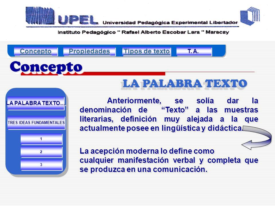 ConceptoConcepto LA PALABRA TEXTO Anteriormente, se solía dar la denominación de Texto a las muestras literarias, definición muy alejada a la que actualmente posee en lingüística y didáctica.