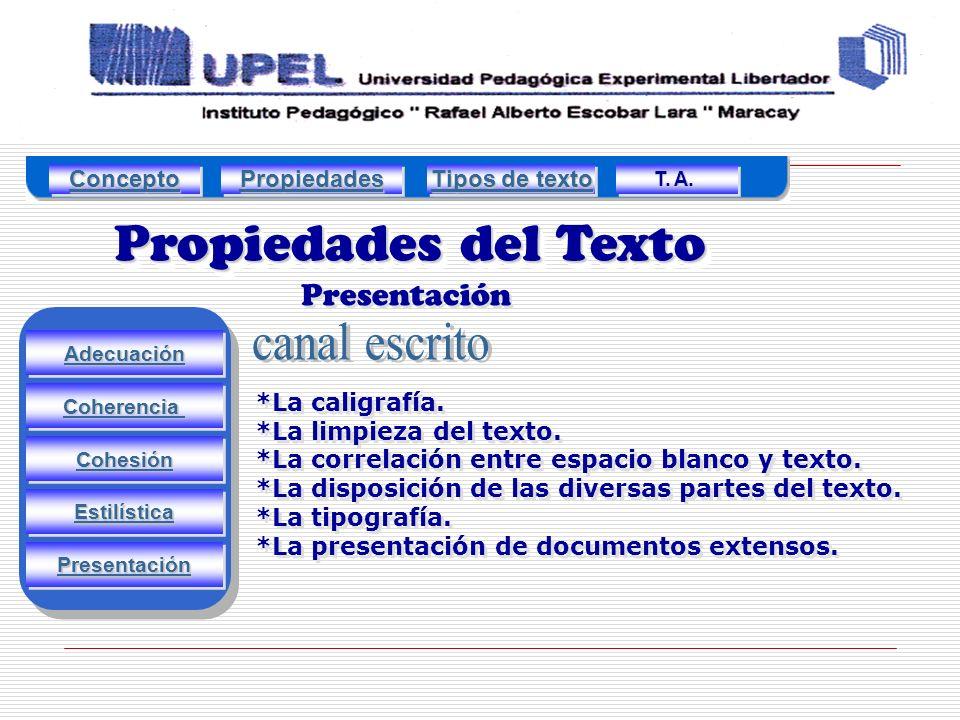 Propiedades del Texto Presentación Adecuación Estilística Cohesión Coherencia Presentación *La caligrafía.