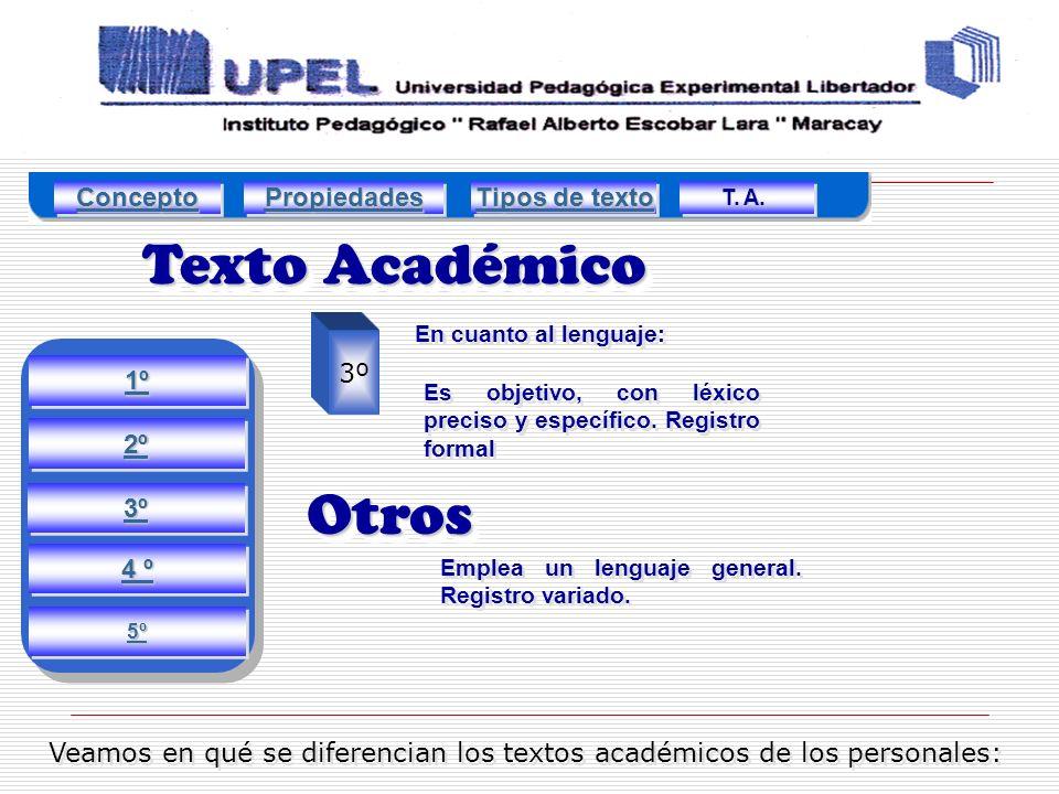 Texto Académico Veamos en qué se diferencian los textos académicos de los personales: 3º Es objetivo, con léxico preciso y específico.