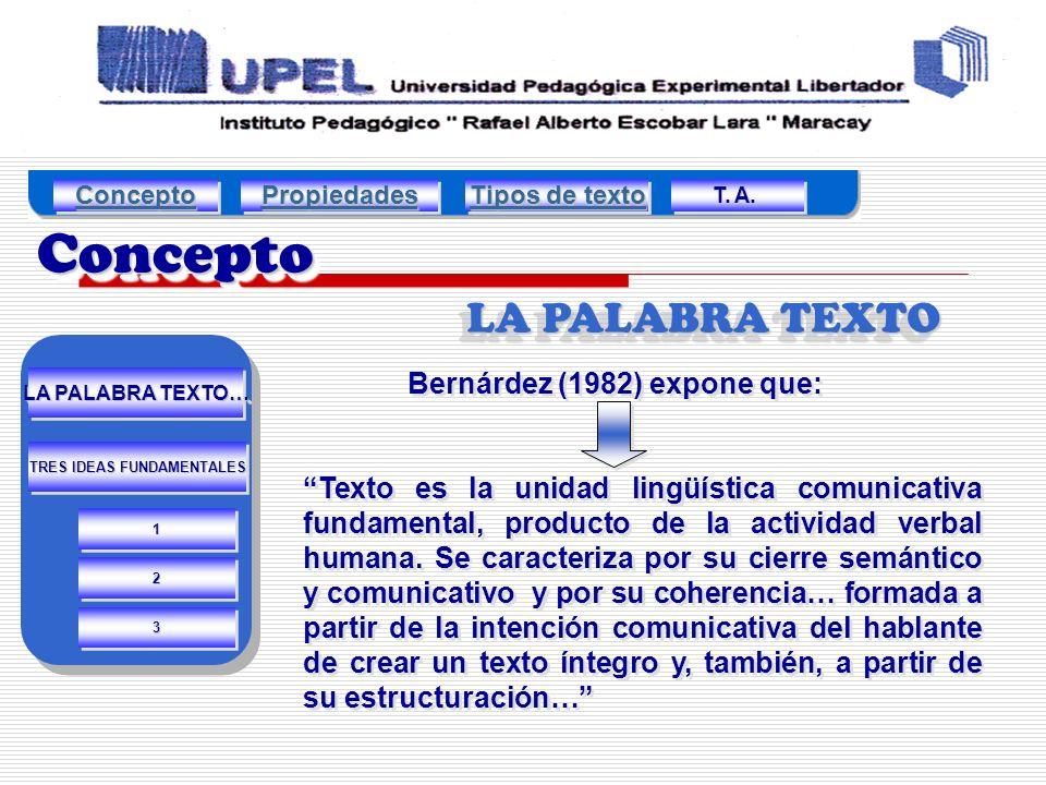 ConceptoConcepto LA PALABRA TEXTO Bernárdez (1982) expone que: Texto es la unidad lingüística comunicativa fundamental, producto de la actividad verbal humana.