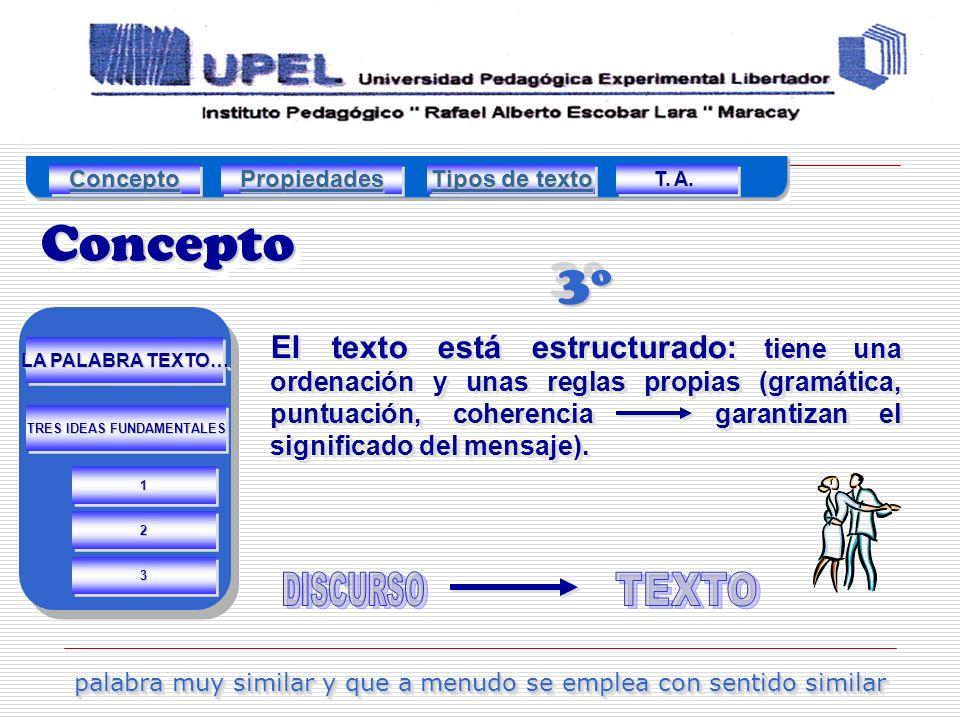 3º3º El texto está estructurado: tiene una ordenación y unas reglas propias (gramática, puntuación, coherencia garantizan el significado del mensaje).