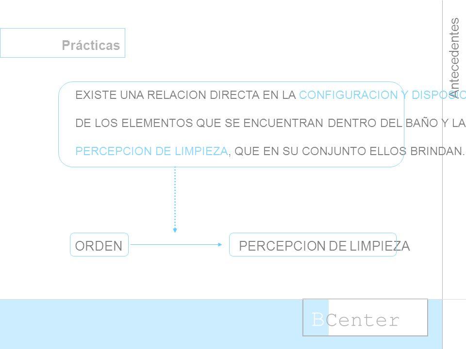 B Center Antecedentes Prácticas EXISTE UNA RELACION DIRECTA EN LA CONFIGURACION Y DISPOSICION DE LOS ELEMENTOS QUE SE ENCUENTRAN DENTRO DEL BAÑO Y LA PERCEPCION DE LIMPIEZA, QUE EN SU CONJUNTO ELLOS BRINDAN.