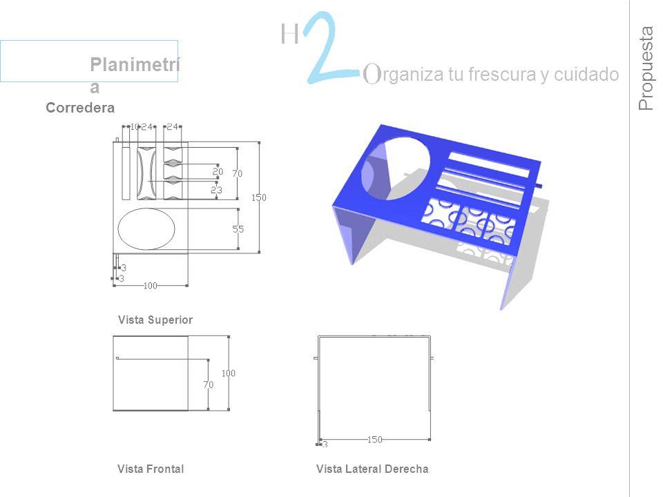 Propuesta Planimetrí a rganiza tu frescura y cuidado Corredera Vista Superior Vista FrontalVista Lateral Derecha