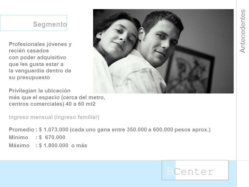B Center Antecedentes Segmento Profesionales jóvenes y recién casados con poder adquisitivo que les gusta estar a la vanguardia dentro de su presupuesto Privilegian la ubicación más que el espacio (cerca del metro, centros comerciales) 40 a 60 mt2 Ingreso mensual (ingreso familiar) Promedio: $ 1.073.000 (cada uno gana entre 350.000 a 600.000 pesos aprox.) Mínimo: $ 670.000 Máximo: $ 1.800.000 o más