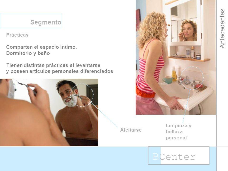 B Center Antecedentes Segmento Prácticas Comparten el espacio intimo, Dormitorio y baño Tienen distintas prácticas al levantarse y poseen artículos personales diferenciados Afeitarse Limpieza y belleza personal