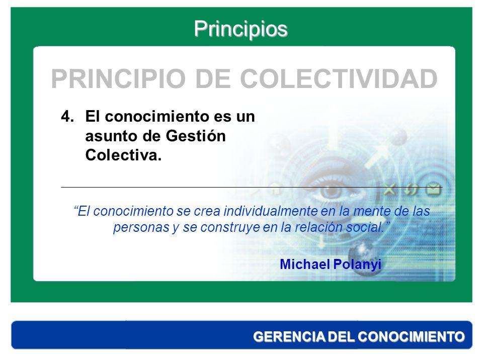 Principios GERENCIA DEL CONOCIMIENTO 5.Entendemos por conocimiento al conjunto de cogniciones y habilidades, con los cuales los individuos suelen solucionar problemas.