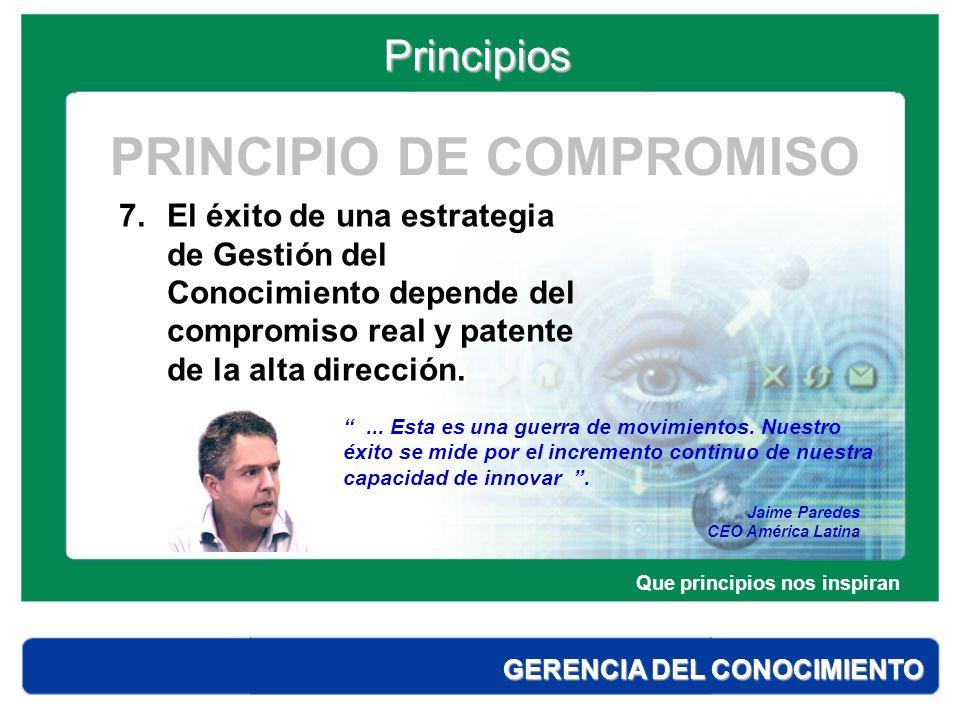 Principios GERENCIA DEL CONOCIMIENTO 8.El conocimiento es un activo estratégico.