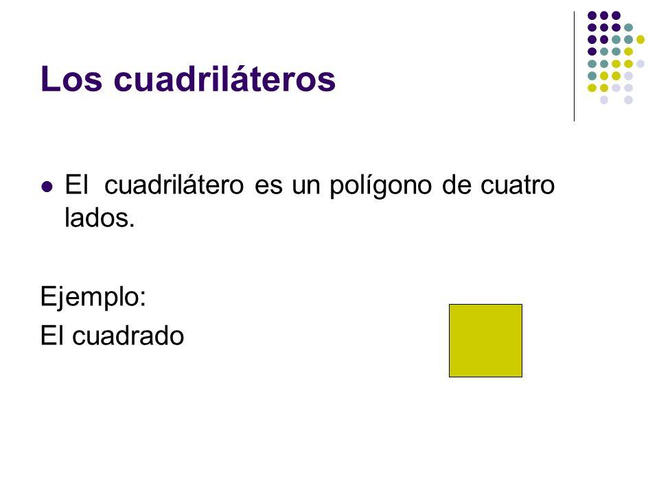 Los cuadriláteros El cuadrilátero es un polígono de cuatro lados. Ejemplo: El cuadrado