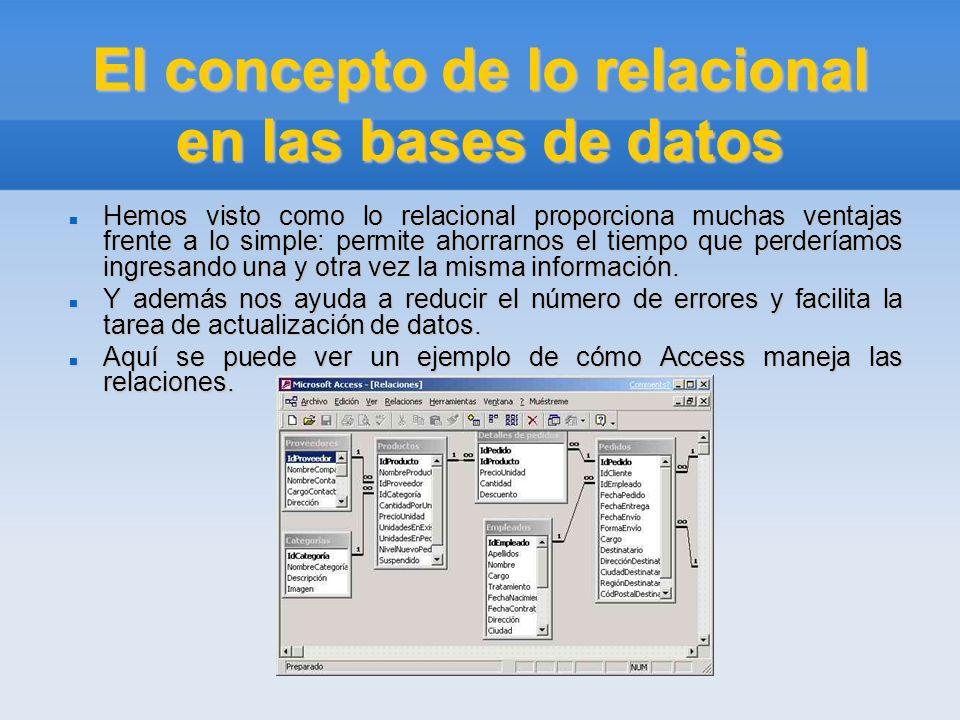 El concepto de lo relacional en las bases de datos Hemos visto como lo relacional proporciona muchas ventajas frente a lo simple: permite ahorrarnos e