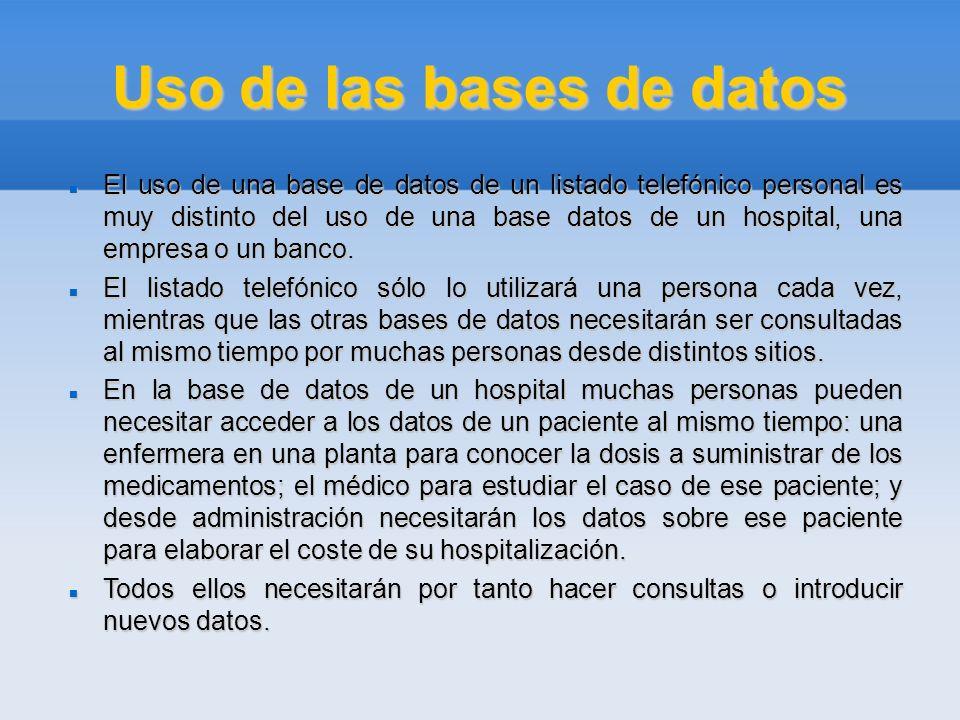 Uso de las bases de datos El uso de una base de datos de un listado telefónico personal es muy distinto del uso de una base datos de un hospital, una