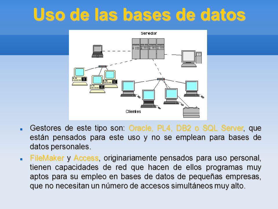 Uso de las bases de datos Gestores de este tipo son: Oracle, PL4, DB2 o SQL Server, que están pensados para este uso y no se emplean para bases de dat