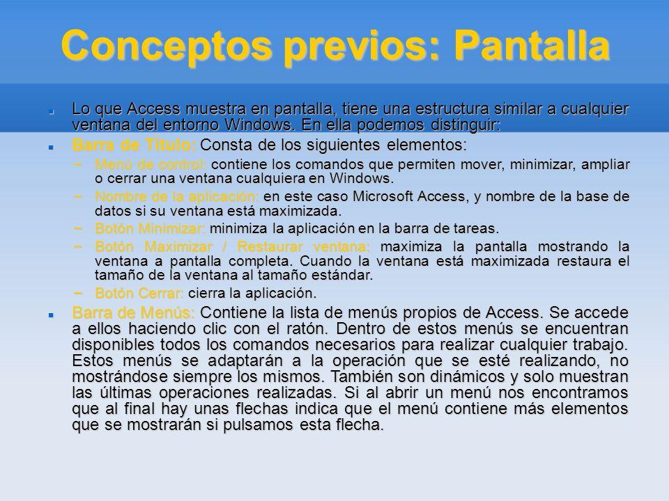 Conceptos previos: Pantalla Lo que Access muestra en pantalla, tiene una estructura similar a cualquier ventana del entorno Windows. En ella podemos d